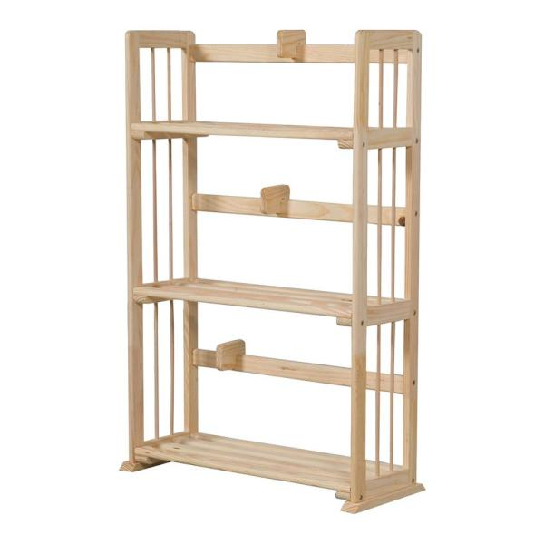 Furinno Pine Natural Color 3-Shelf Solid Wood Open Bookcase FNCL-33001