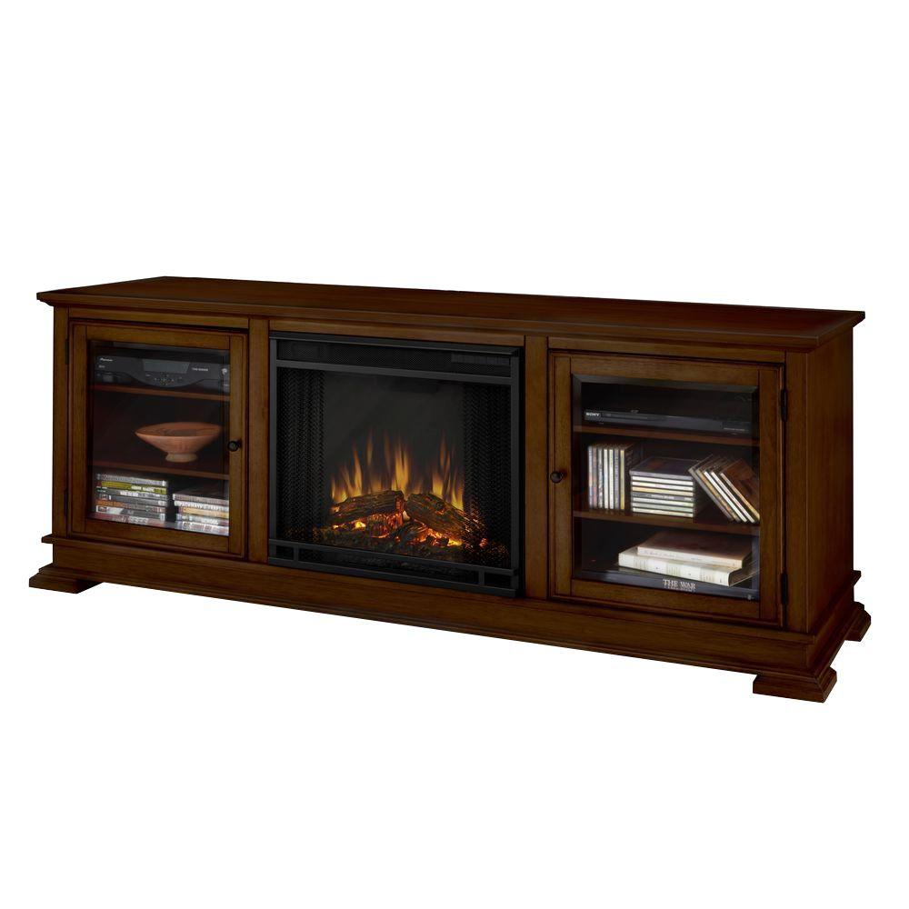 Real Flame Hudson 68 in. Media Console Electric Fireplace in Espresso