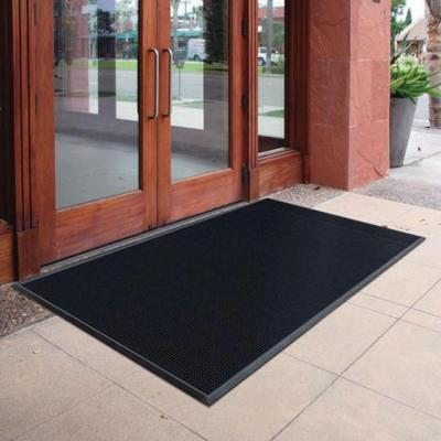 Black 23.75 in. x 31.5 in. Rubber Door Mat