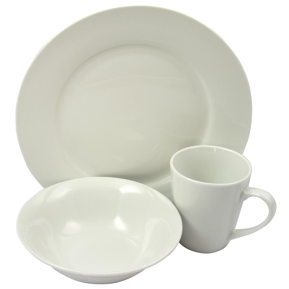 GIBSON HOME Noble Court 12-Piece White Dinnerware Set  sc 1 st  Home Depot : white dinnerware sets for 12 - pezcame.com