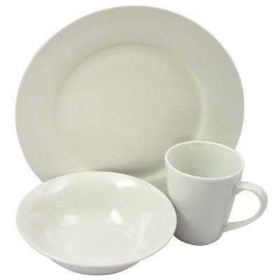 Noble Court 12-Piece White Dinnerware Set