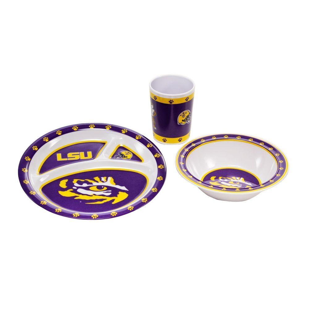 NCAA Louisiana State Tigers 3-Piece Kid's Dish Set