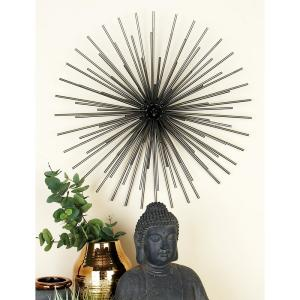 Iron Metallic Black Round Spiked Wall Decor (Set of 3) by