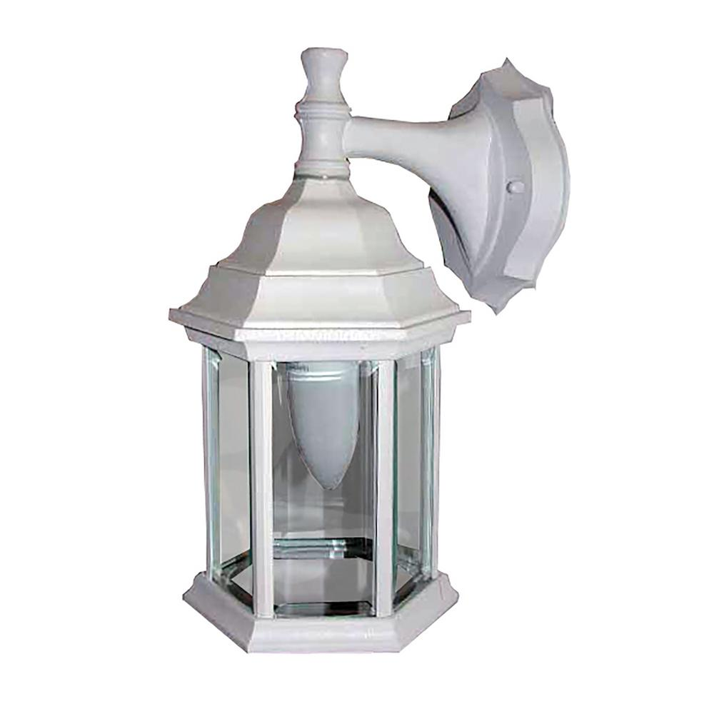 1-Light White Outdoor Wall Sconce-OWL4-WH - The Home Depot