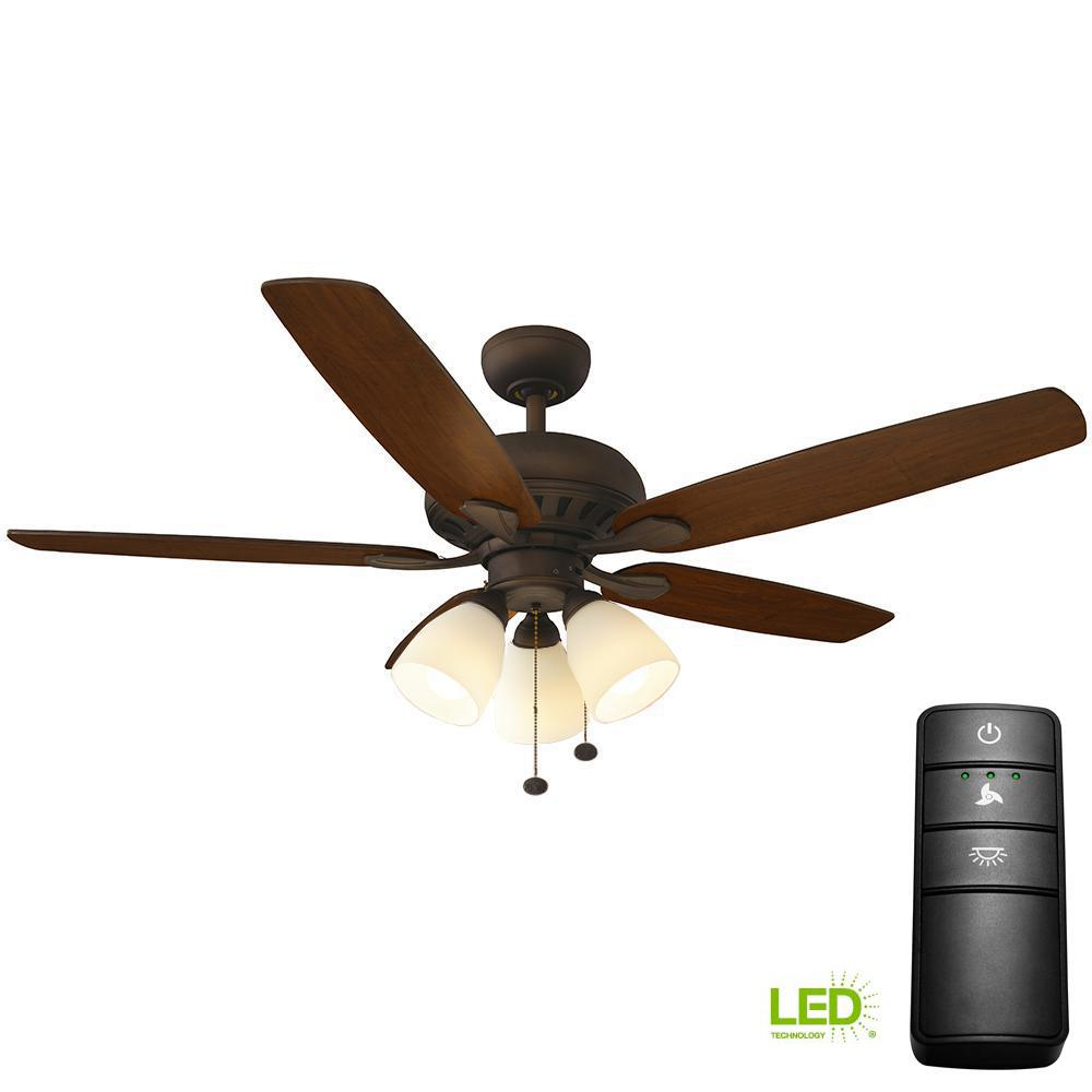 Hampton Bay Rockport 52 in. LED Oil-Rubbed Bronze Ceiling Fan with Light Kit and Remote Control