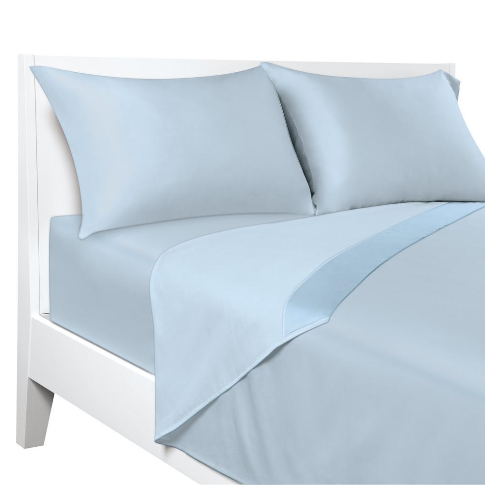 4-Piece Blue Solid 300 Thread Count Cotton Queen Sheet Set