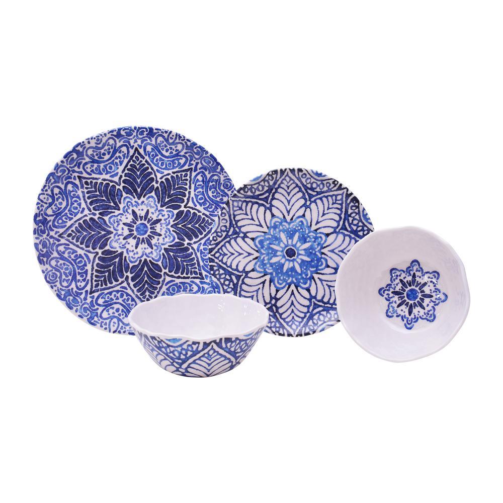 Rustic 12 piece medallion blue melamine set 3641bl797a7j02 the home depot