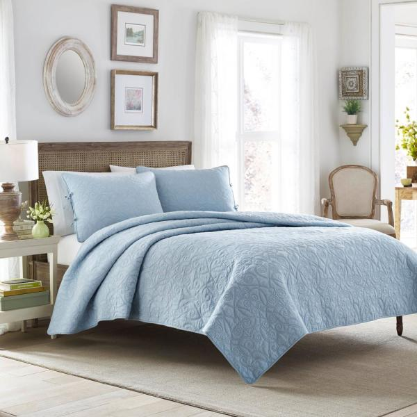 Laura Ashley Felicity 3-Piece Breeze Blue King Quilt Set 210428