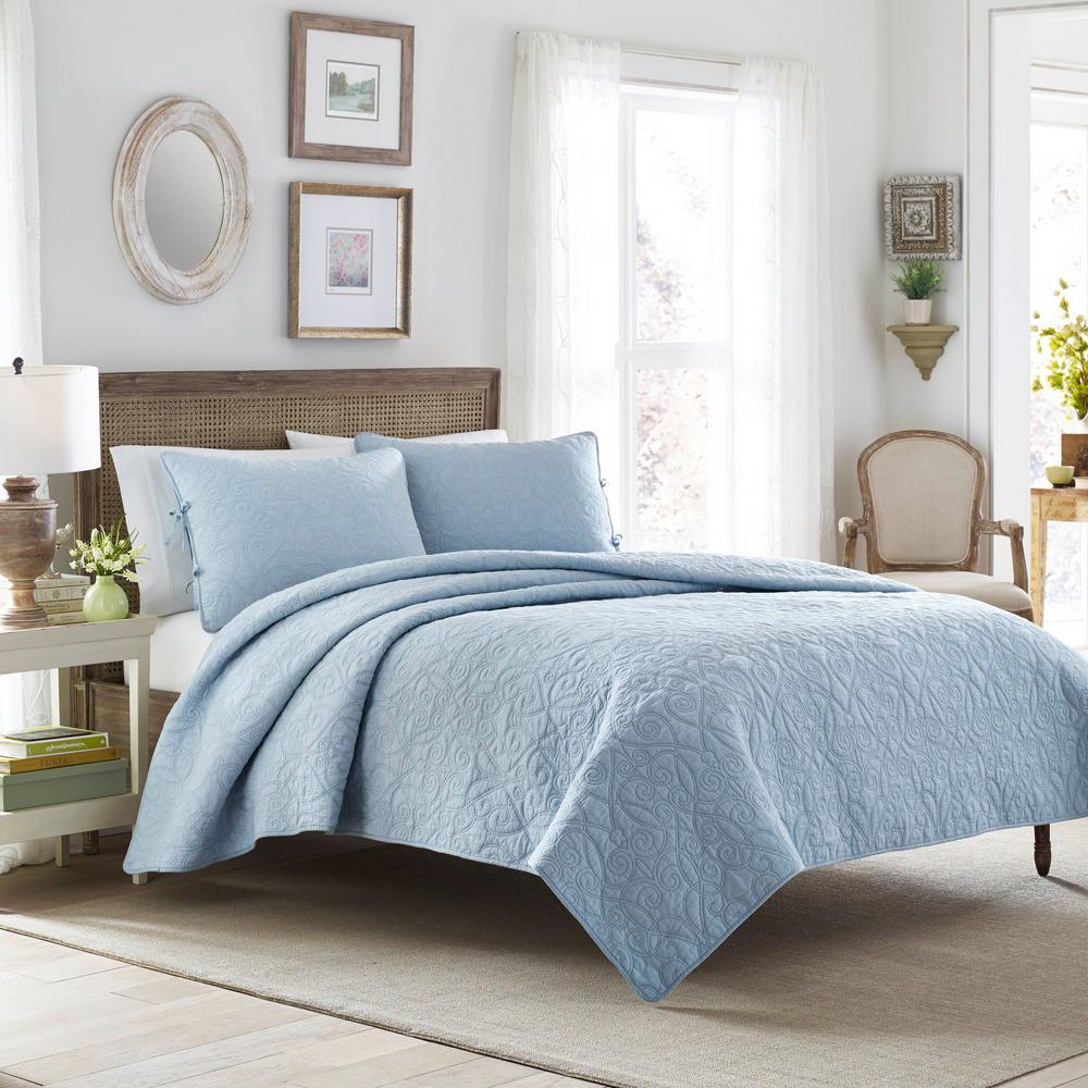 Felicity 3-Piece Breeze Blue Floral Cotton King Quilt Set