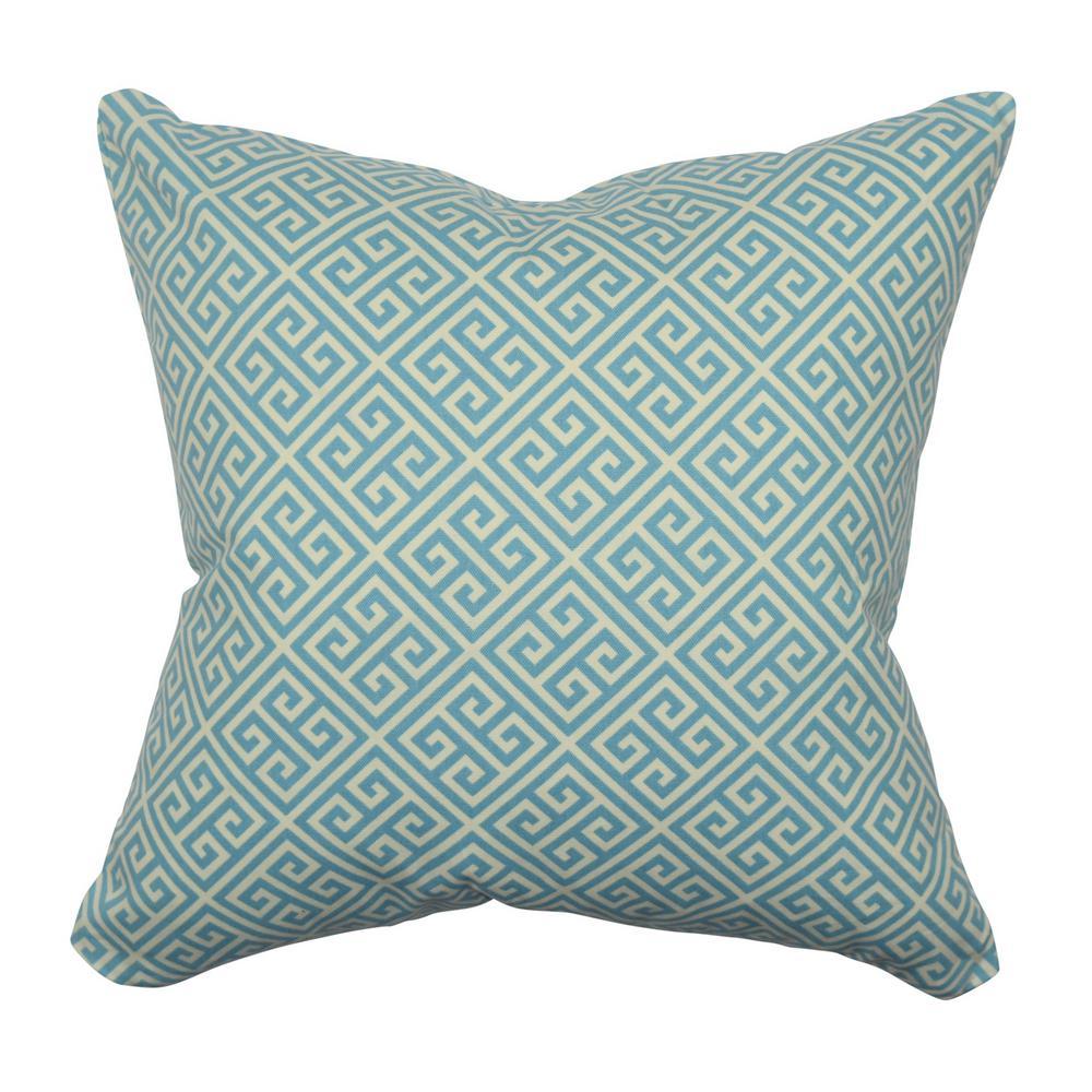 Vesper Lane Blue And White Greek Key Throw Pillow
