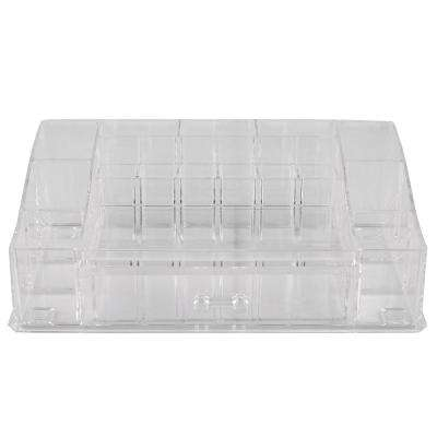 Deluxe Large Shatter-Resistant Plastic Mult-Compartment Cosmetic Organizer with Easy Open Drawer in Clear