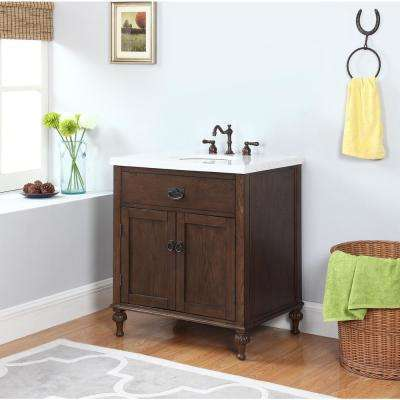 Huntington 30 in. W x 22 in. D Vanity in Antique Oak with Marble Vanity Top in Gray and White with White Basin