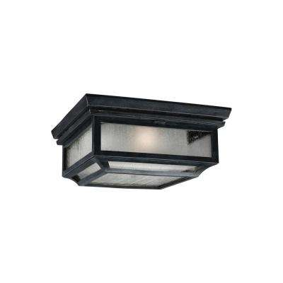 Shepherd 13 in. W. 2-Light Dark Weathered Zinc Outdoor 5.75 in. Ceiling Fixture