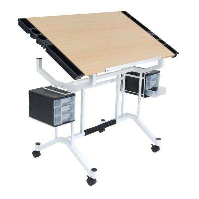 Pro 38 in. W Work Surface Craft Station with Angle Adjustable Top 4 Supply Side Trays (2) 3-Drawers White / Maple