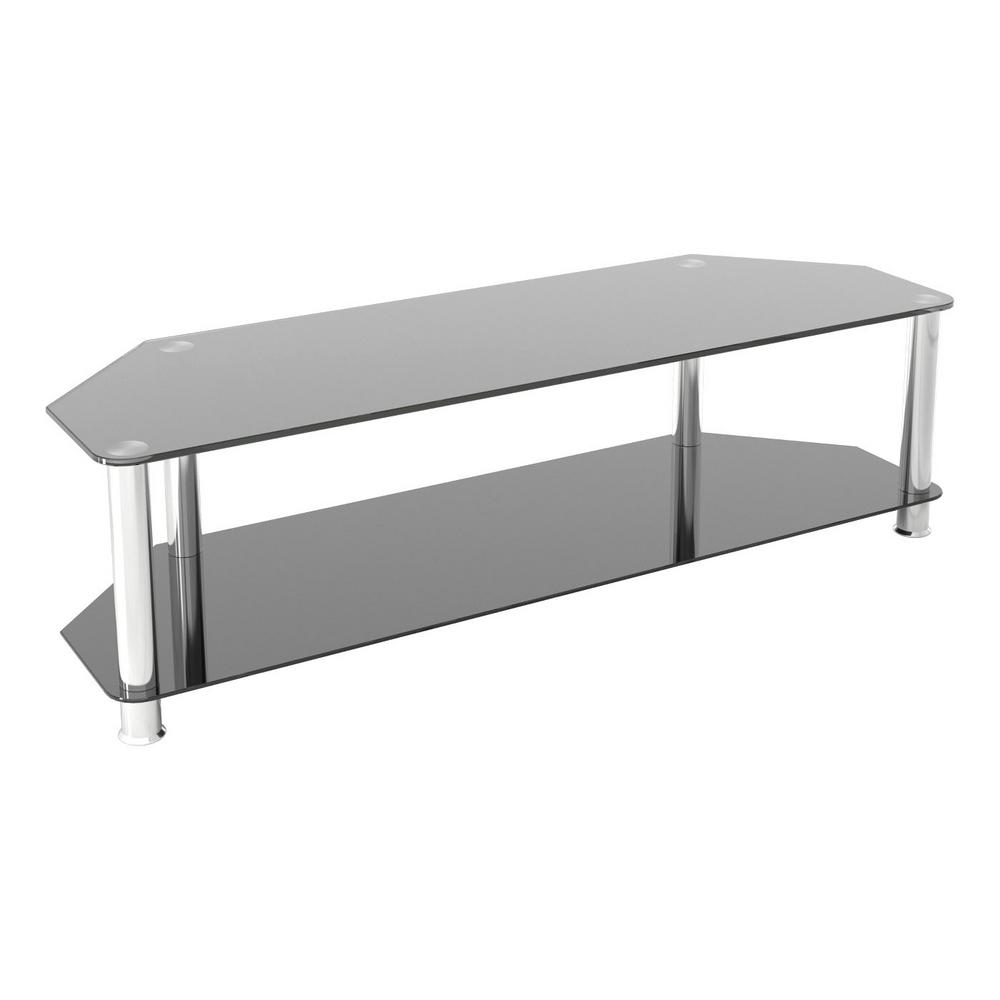 Entertainment Center TV Stand Black Chrome Legs For Up To 55-inch Glass Metal