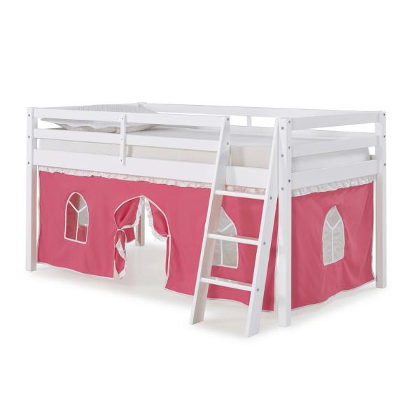 Roxy White Twin Junior Loft Bed with Pink and White Tent
