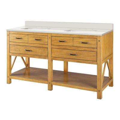Avondale 61 in. W x 22 in. D Vanity in Weathered Pine with Engineered Marble Top in Winter White with White Sink