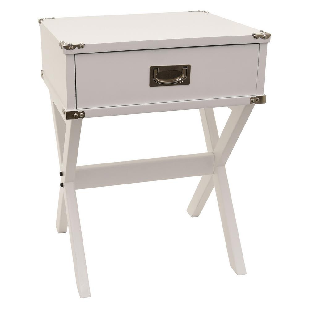 THREE HANDS 24 In. White Side Table With 1-Drawer-87778