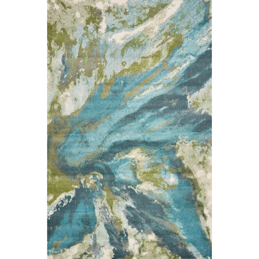 Kas Rugs Watercolors Teal 3 Ft. X 5 Ft. Abstract Area Rug