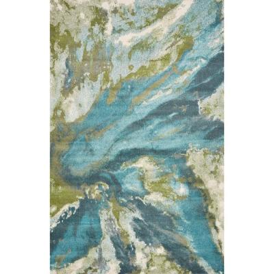 Watercolors Teal 3 ft. x 5 ft.  Abstract Area Rug