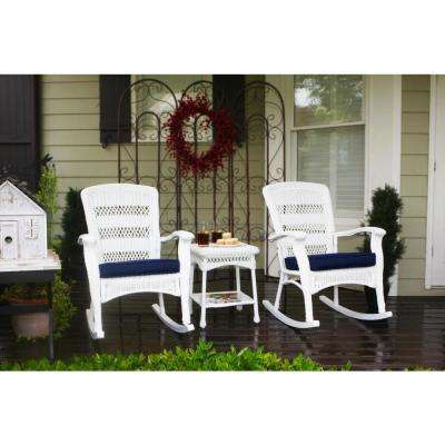 Portside Plantation White 3-Piece Wicker Outdoor Rocking Chair Set with Navy Blue Cushion
