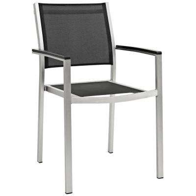 Shore Patio Aluminum Outdoor Dining Chair in Silver Black