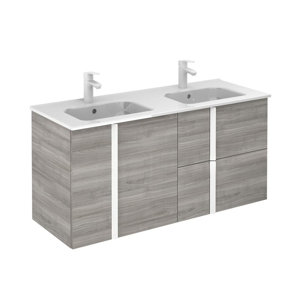 ROYO Onix 48 in. W x 18 in. D Vanity with Doors and Drawers in Sandy Grey with Vanity Top in White Ceramic Basin