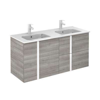 Onix 48 in. W x 18 in. D Vanity with Doors and Drawers in Sandy Grey with Vanity Top in White Ceramic Basin
