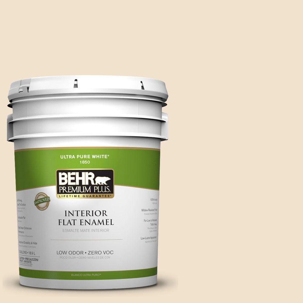 BEHR Premium Plus 5-gal. #ECC-12-1 Dappled Sunlight Zero VOC Flat Enamel Interior Paint-DISCONTINUED