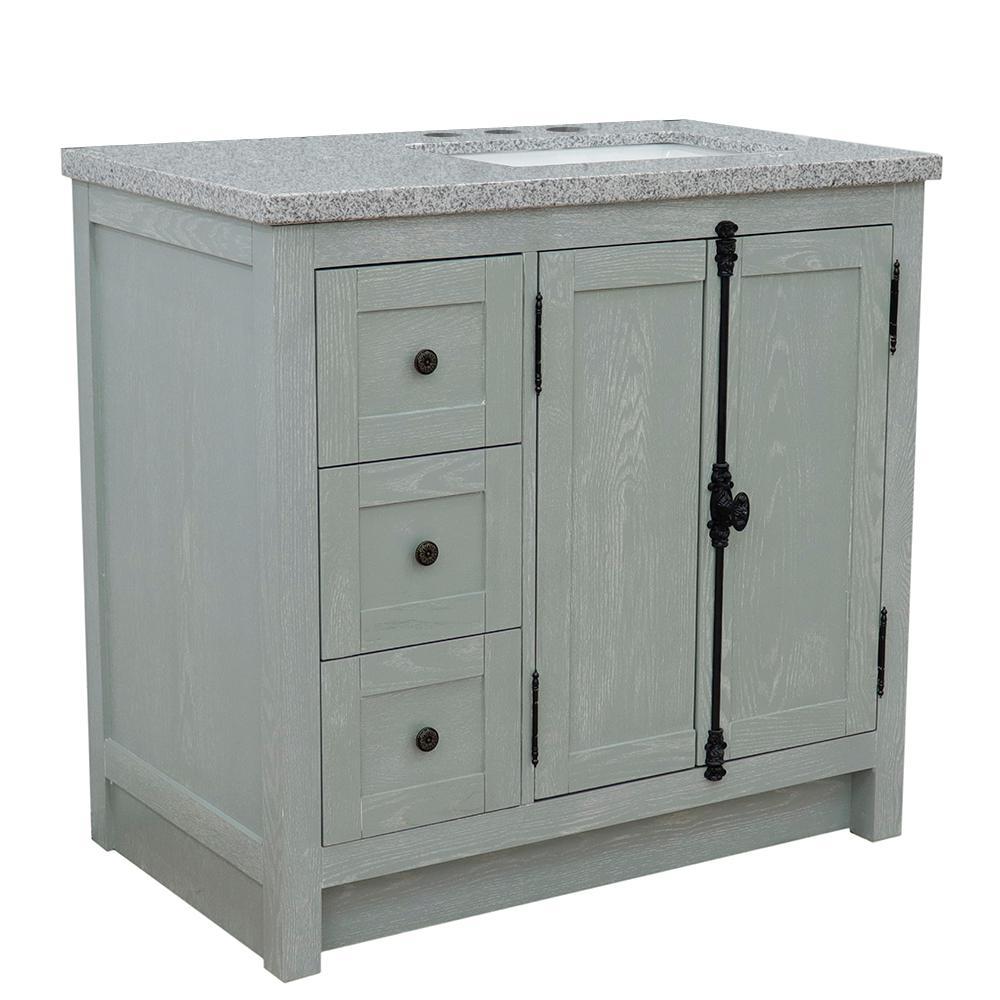 37 in. W x 22 in. D x 36 in. H Bath Vanity in Gray Ash with Gray Granite Vanity Top and Right Side Rectangular Sink