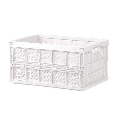 Household Series 17.9 in. x 9.4 in. White Transportable Folding White Storage Basket with Handles