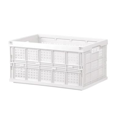Household Series 17.9 in. x 9.4 in. White Transportable Folding White Storage Basket with Handles (10-Pack)