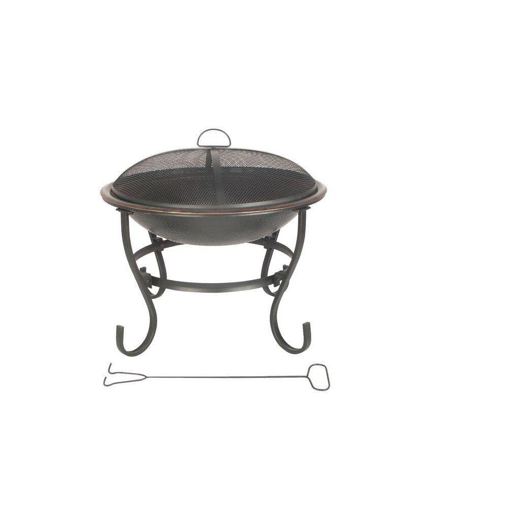 23 in. Round Fire Pit with Copper Table Top