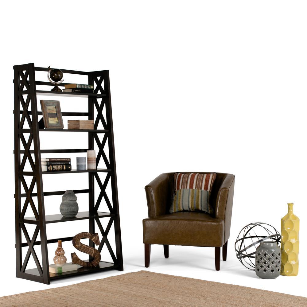 Simply Home Kitchener Dark Walnut Brown Open Bookcase