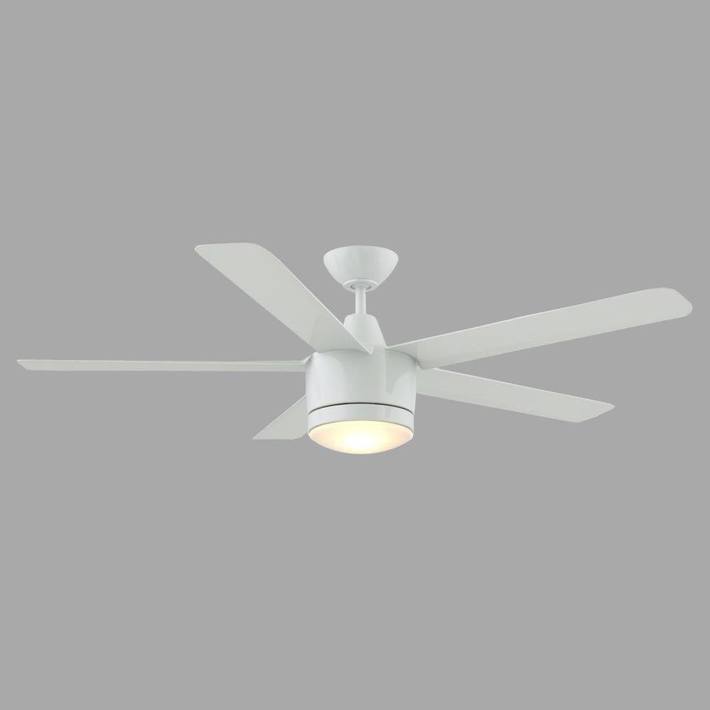 White Fan With Light Part - 30: Home Decorators Collection Merwry 52 In. LED Indoor White Ceiling Fan With  Light Kit And