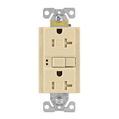 GFCI Self-Test 20A -125V Tamper Resistant Duplex Receptacle with Standard Size Wallplate, Ivory