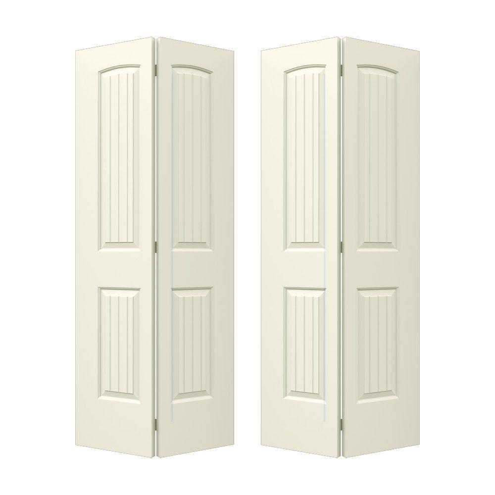 jeld wen 72 in x 80 in santa fe vanilla painted smooth molded composite mdf closet bi fold. Black Bedroom Furniture Sets. Home Design Ideas