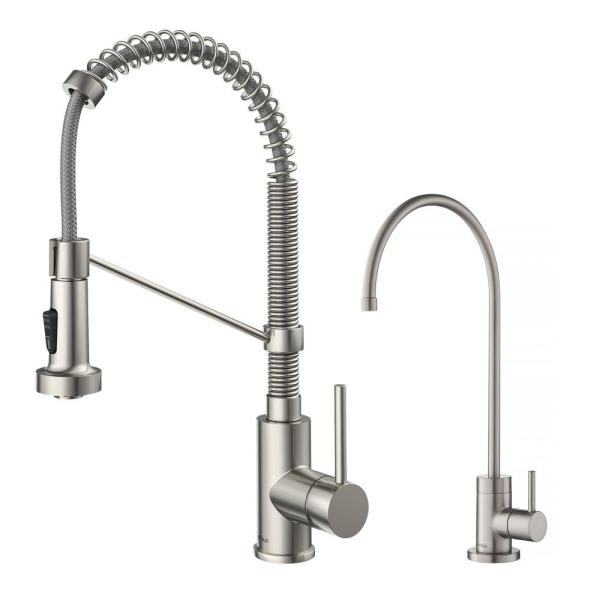 Bolden Commercial 1-Handle Pull-Down Kitchen Faucet and Purita Water Filtration Faucet in Spot Free Stainless Steel