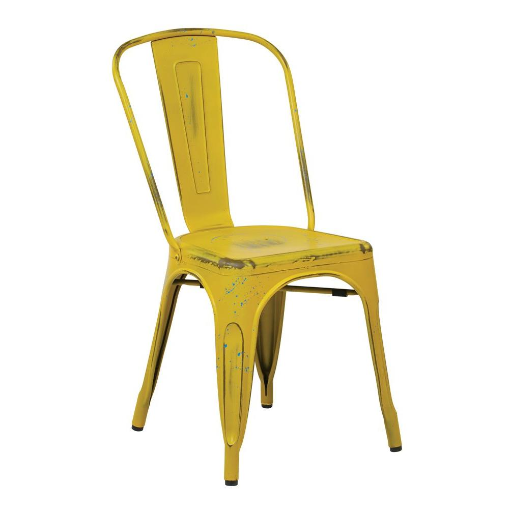 osp designs bristow antique yellow metal side chair (set of 4