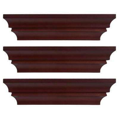 Madison Contoured 12 in. x 4 in. Espresso Wall Ledge and Shelf (Set of 3)
