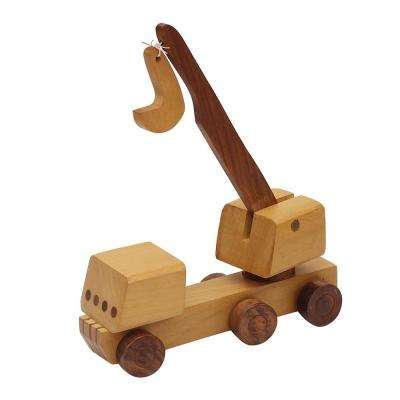 Handmade Brown Wooden Kid's Toy Crane