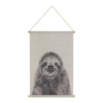 Sloth Hanging Linen Black Wall Tapestry