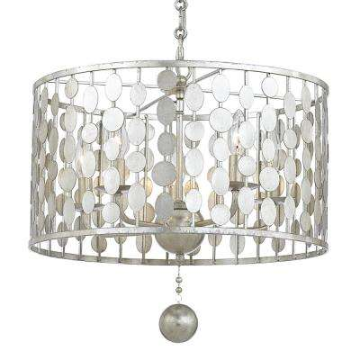 Layla 5-Light Antique Silver Chandelier
