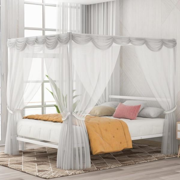Boyel Living White Metal Framed Queen, Queen Bed No Box Spring