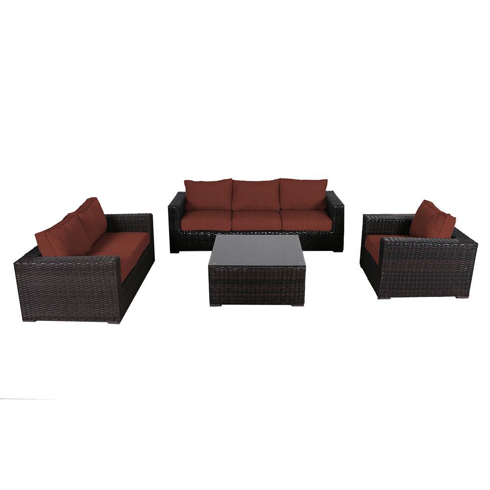 Santa Monica 4-Piece Wicker Patio Deep Seating Set with Sunbrella Henna Dupione Cushions
