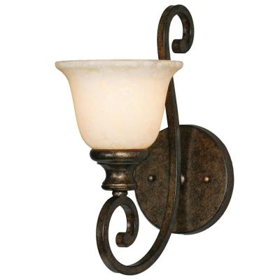 Heartwood 1-Light Burnt Sienna with Tea Stone Glass Wall Sconce