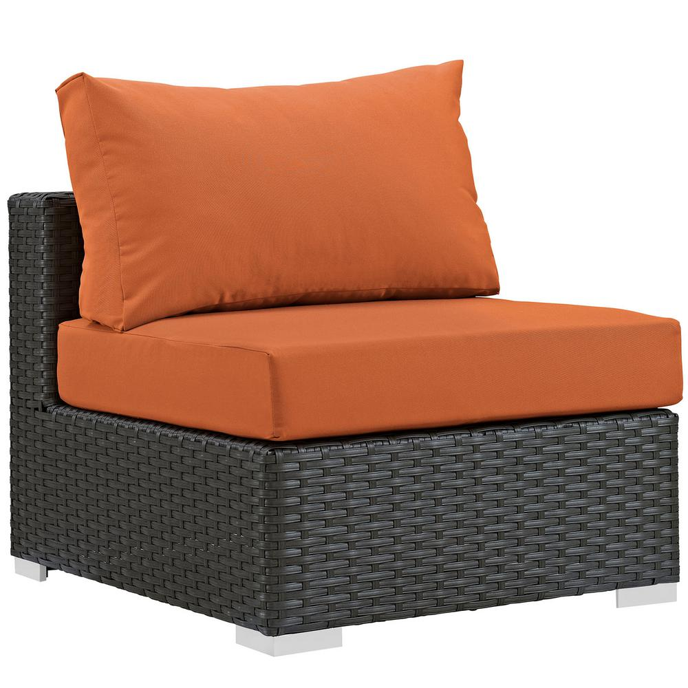 Sojourn Patio Fabric Sunbrella Wicker Armless Middle Outdoor Sectional Chair