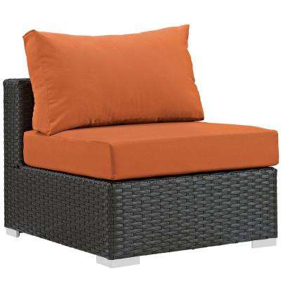 Sojourn Patio Fabric Sunbrella Wicker Armless Middle Outdoor Sectional Chair with Canvas Tuscan Cushions