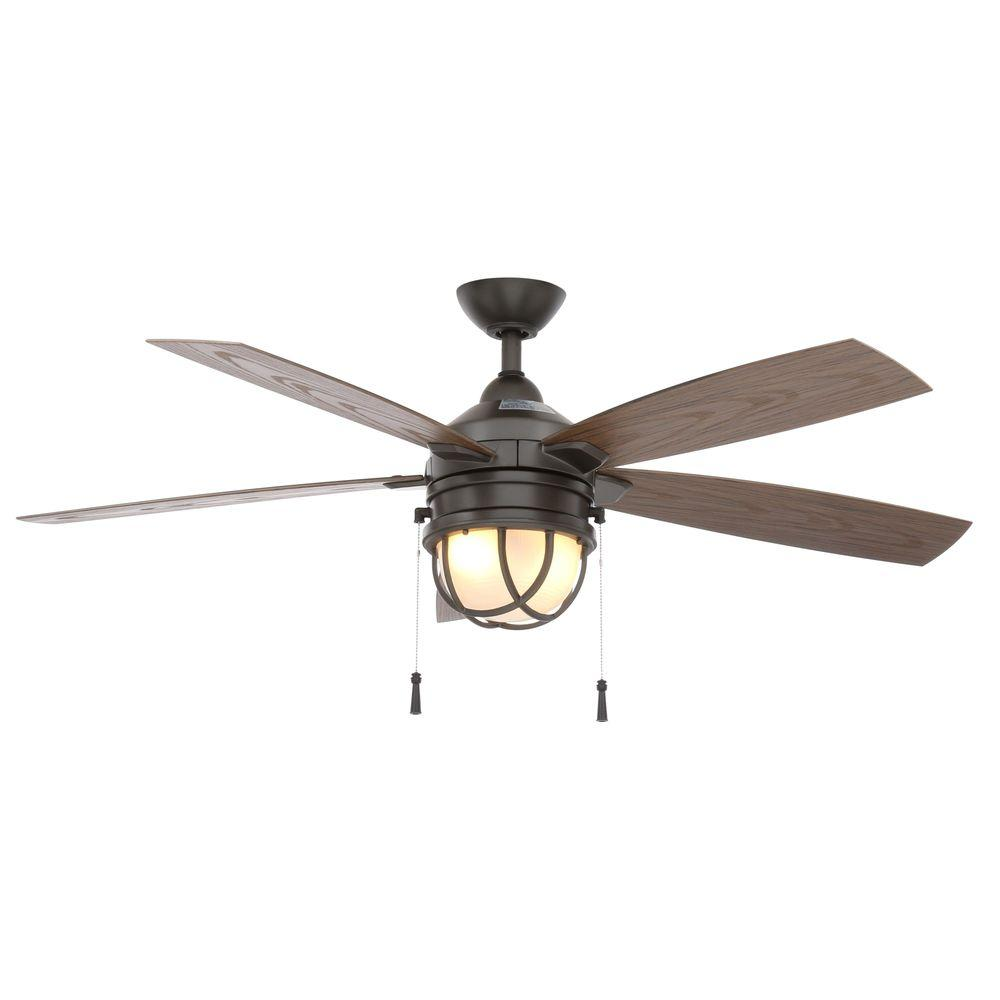 Hampton Bay Seaport 52 in. Indoor/Outdoor Natural Iron Ceiling Fan with Light Kit