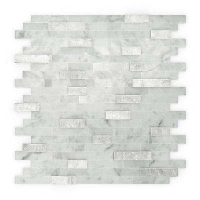 Camarillo White and Grey 11.75 in. x 11.6 in. x 5 mm Stone Self Adhesive Mosaic Wall Tile (11.36 sq. ft. / case)